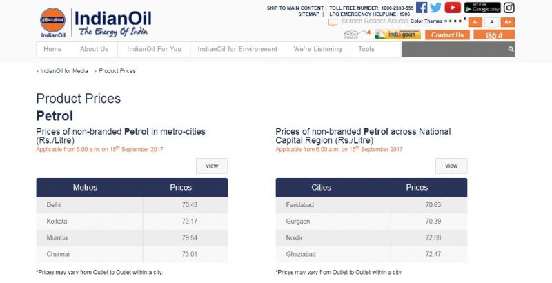 Petrol prices in major cities. Source: IOC website.