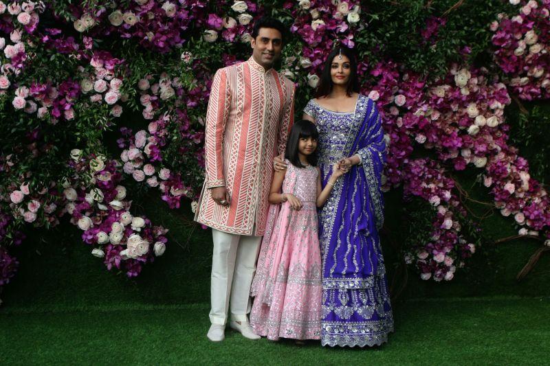 Abhishek Bachchan and Aishwarya Rai Bachchan with daughter Aaradhya at Akash-Shloka's wedding. (Photo Courtesy: Mrugesh Bandiwadekar)