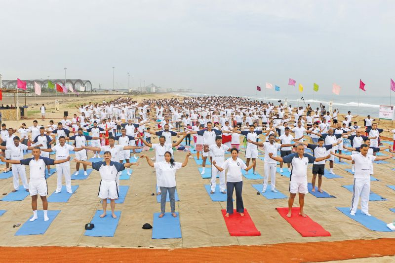 Indian navy force  celebrates International yoga day at INS Adyar, Navy office, on Kamarajar salai in Chennai. Rear admiral KJ Kumar, VSM, was the chief guest of the event. (Photo: DC)
