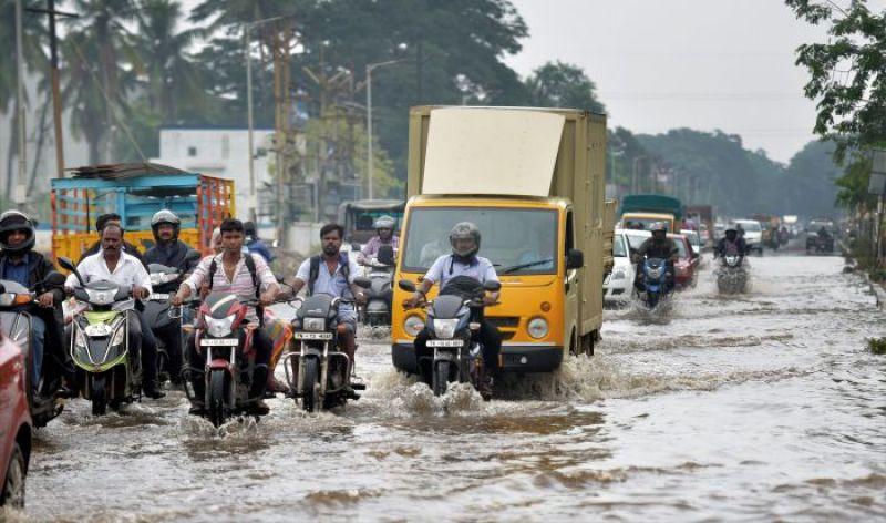 Waterlogged street in Chennai. (Photo: PTI)