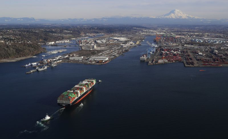 In this March 5, 2019 photo, a cargo ship arrives at the Port of Tacoma, in Tacoma, Wash. U.S. and Chinese negotiators resumed trade talks Friday, May 10, 2019, under increasing pressure after President Donald Trump raised tariffs on $200 billion in Chinese goods and Beijing promised to retaliate. (AP Photo/Ted S. Warren)