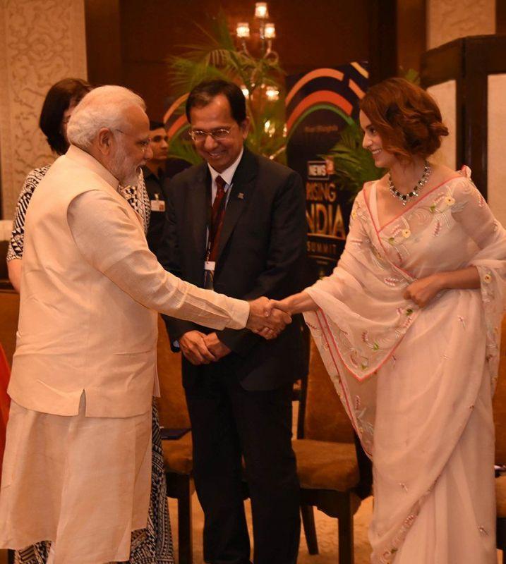 Kangana Ranaut and Narendra Modi at the event.