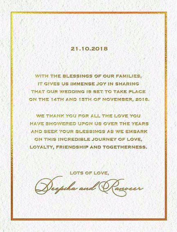 Deepika Padukone And Ranveer Singh Announce Their Wedding On