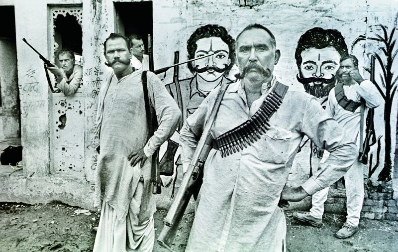 Ex-dacoit Mohar Singh with his men in Chambal (Photographed in 1994 on film).