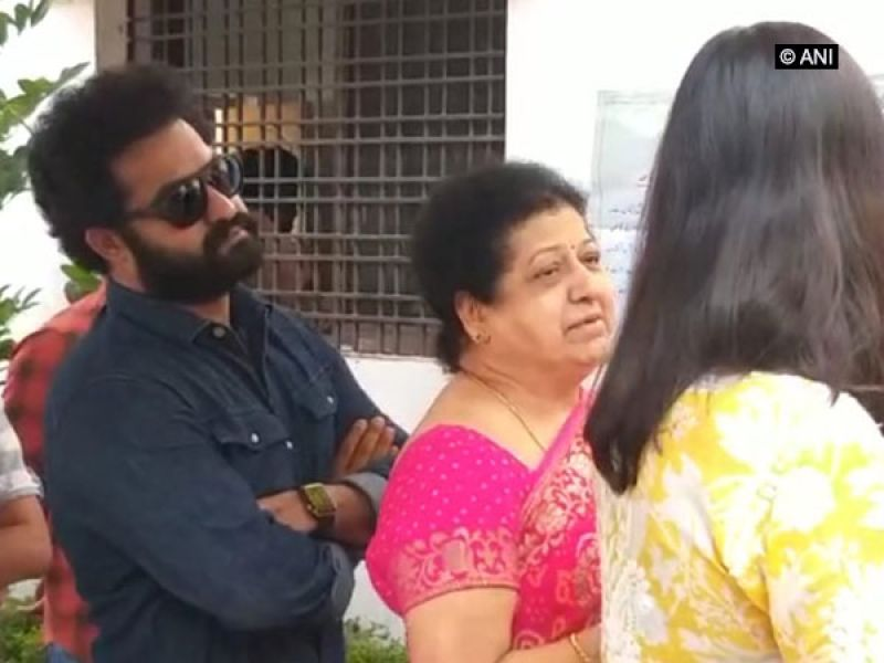 Jr NTR spotted outside voting centre in Hyderabad. (Photo: ANI)