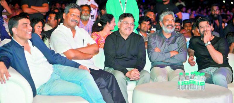 Dil Raju, Shyam Prasad Reddy, Allu Arvind and Rajamouli