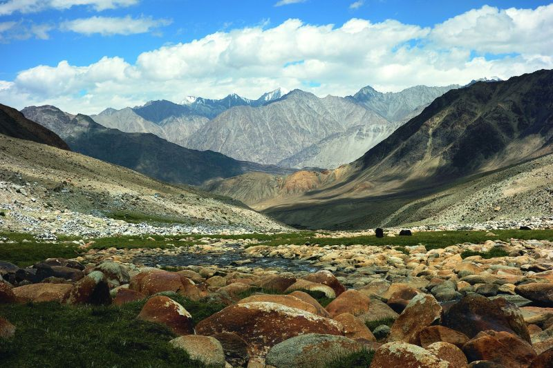 A panaromic river along the road to Ladakh