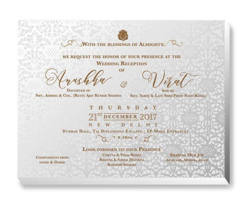 Anushka-Virat's reception card