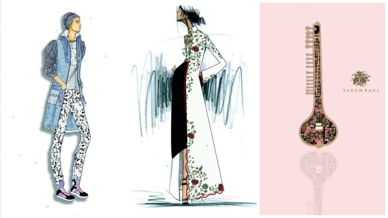(L-R) A sketch of Amit Aggarwal's creation for Justin Bieber, Anamika Khanna's design for Justin's mother and a sketch of Varun Bahl's creation