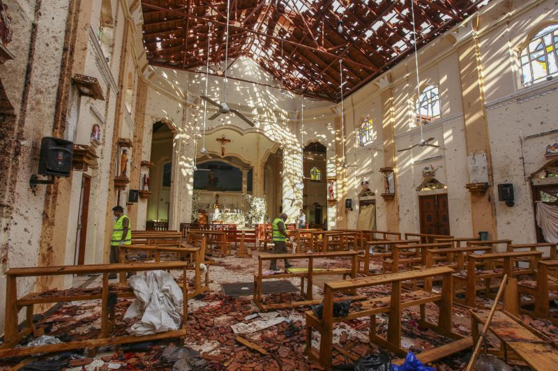 A view of St. Sebastian's Church damaged in blast in Negombo, north of Colombo, Sri Lanka. (Photo:AP)