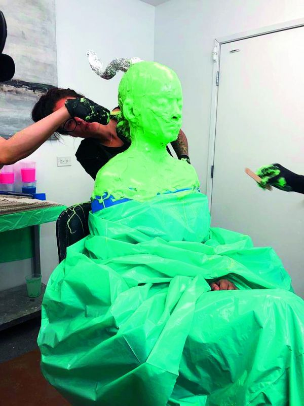 The actress was patient enough to sit through the whole process where she was covered in prosthetic glue for measurements.