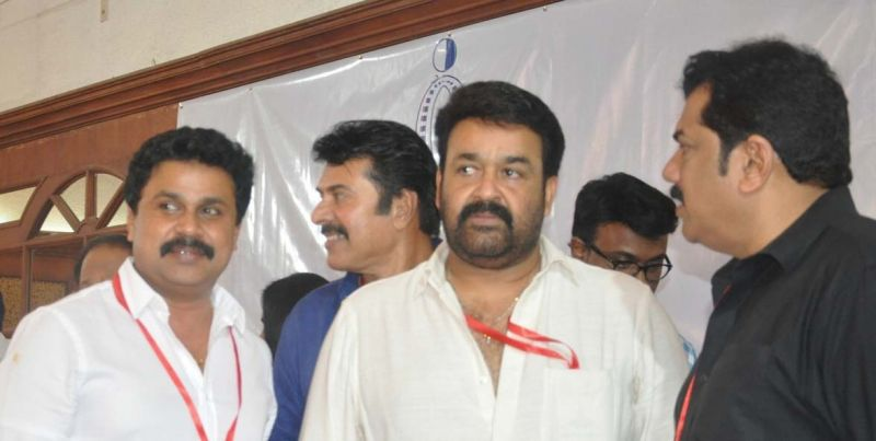 Actors Dileep, Mammootty, Mohanlal and Mukesh at one of the past general body meetings of A.M.M.A