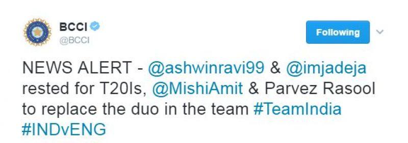Ravichandran Ashwin, Ravindra Jadeja, Amit Mishra, Parvez Rasool, Team India, India vs England