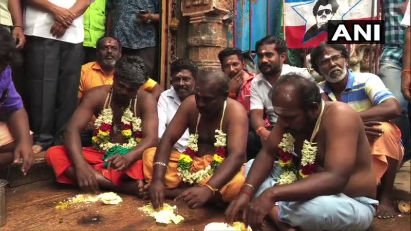 Rajinikanth fans offering prayers ahead of Darbar release. (Photo: ANI)