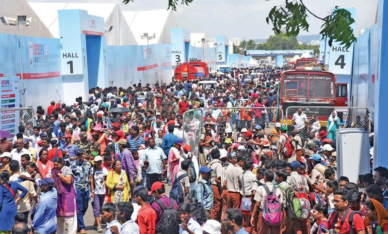 Organisers of DefExpo had a tough time on a public day as more than a lakh visitors visited the expo to witness the Indian and foreign-made weapons in one place.