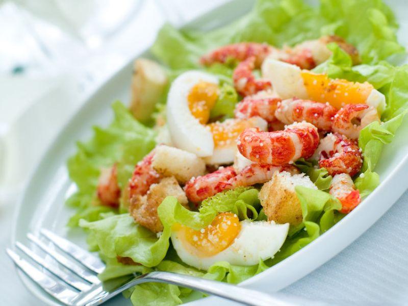 Egg with Shrimp Salad