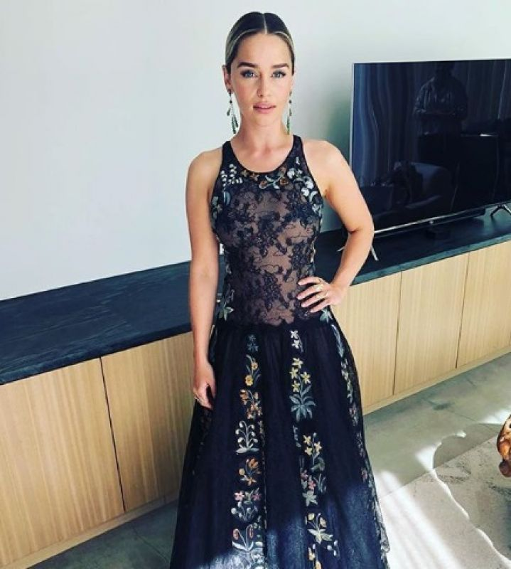 GoT star Emilia Clarke was stunning in a see through dress (Photo: Instagram)