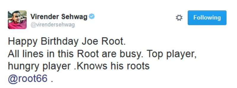 Virender Sehwag wished Joe Root in his trademark witty style. (Photo: Screengrab)