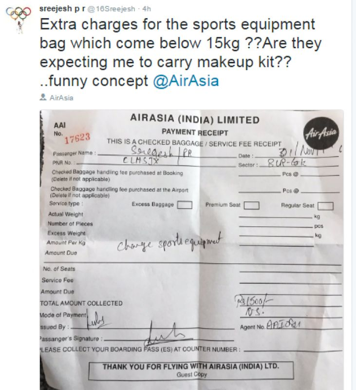 Pr Sreejesh Loses Cool After Airline Fined Him For Excess Baggage