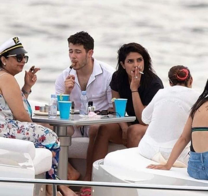 Priyanka Chopra smoking cigarette. (Photo: Instagram)