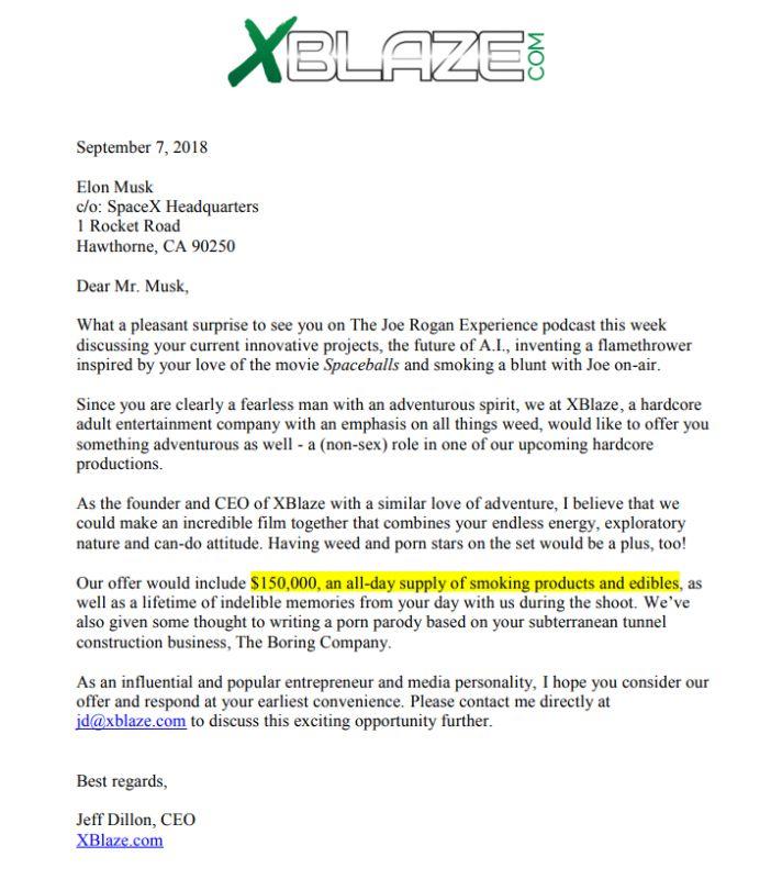 Elon Musk letter