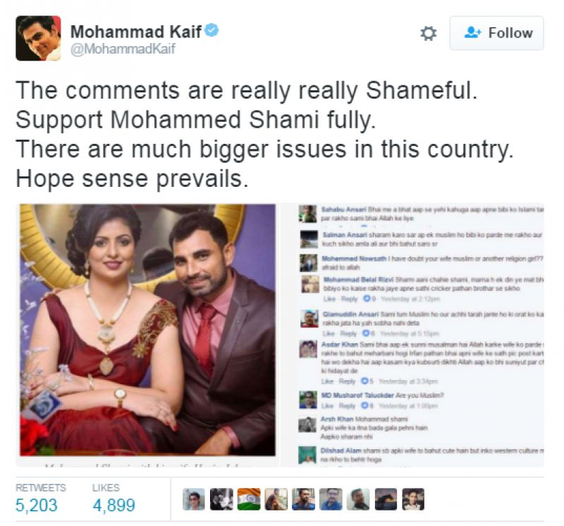 Kaif supports Shami