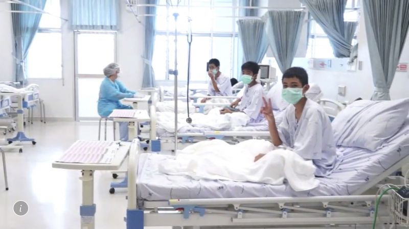 Three of the 12 boys are seen recovering on hospital beds after their successful rescue from the Tham Luang cave complex. (Photo: AP)
