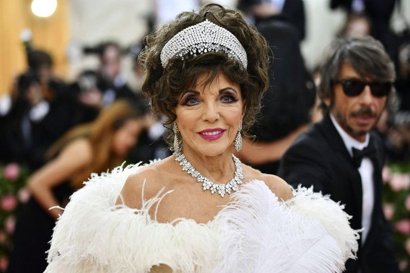 Joan Collins attended the 2019 Met gala that celebrated the opening of the 'Camp: Notes on Fashion' exhibition in New York. (Photo: AP)