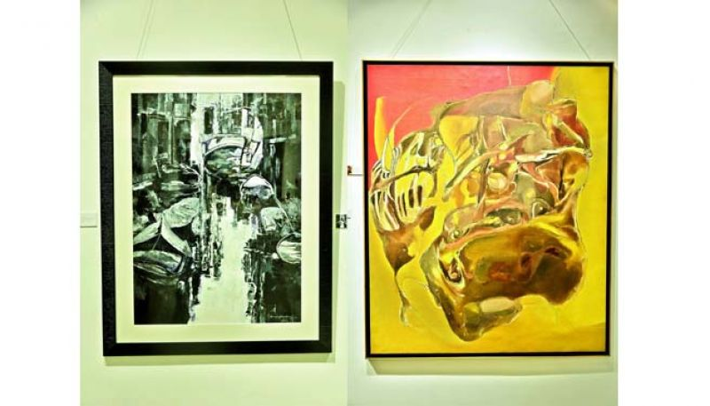 (Left) One of the very few black and white paintings from Surya Prakash's trip to Venice, as he does not usually work with a black and white palette; (right) one of the critically acclaimed works of the artist from the series that was inspired by automobile scraps, depicting human skeletal forms