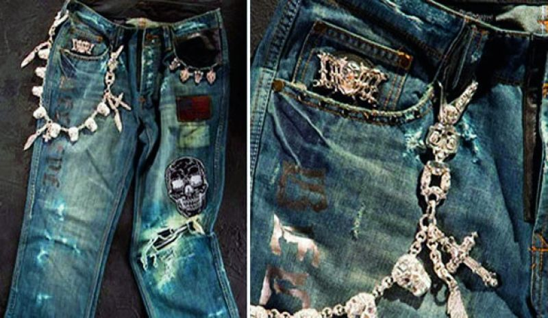 You'd think men aren't all about the bling, but this should prove otherwise. Made especially for men, this pair comes with a special skull and skeleton style chain. Before the completion of this jean, the fabric was washed more than 13 times. It is designed with one carat rubies, eight diamonds, 1,080 grams of gold, making it uber precious at $250,000!