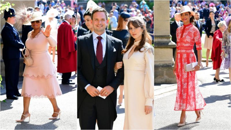 Oprah Winfrey, Meghan's onscreen husband Patrick J. Adams and wife Troian Bellisario and Gina Torres were some of those who were in attendance to the royal wedding