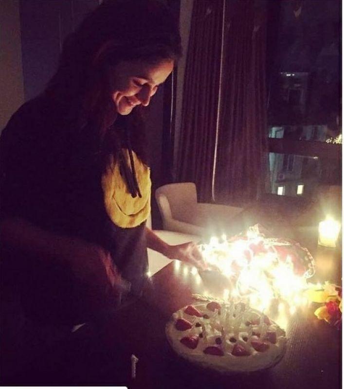 Alia Bhatt cuts birthday cake on the sets of 'Brahmastra'.