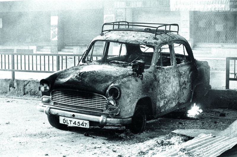 Sikh-owned taxis were burned at their stands.