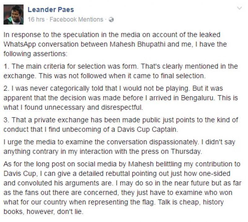 Mahesh Bhupathi, Leander Paes, Facebook, Davis Cup