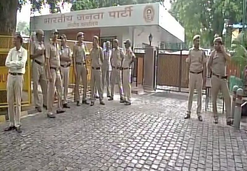 Security tightened at BJP headquarters in Delhi. (Photo: ANI  Twitter)