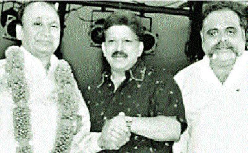 Ambareesh with late actors Dr Rajkumar and Dr Vishnuvardhan
