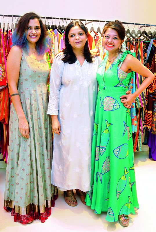 Designers Priyadarshini Rao and Anupamaa Dayal with the owner of Elahé and the curator of the collection Smita Shroff (middle).