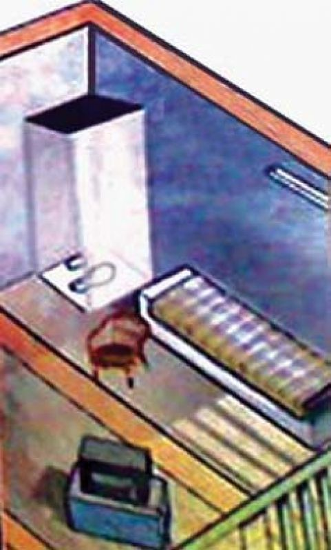 An artist's impression of a cell at Parappana Agrahara prison.