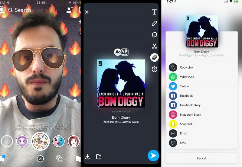 Snapchat JioSaavn