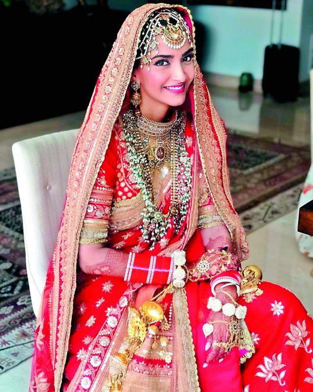 Sonam Kapoor dressed in wedding finery