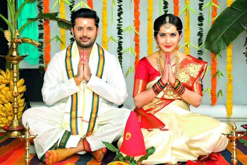 Nithiin and Raashi Khanna in Srinivasa Kalyanam.