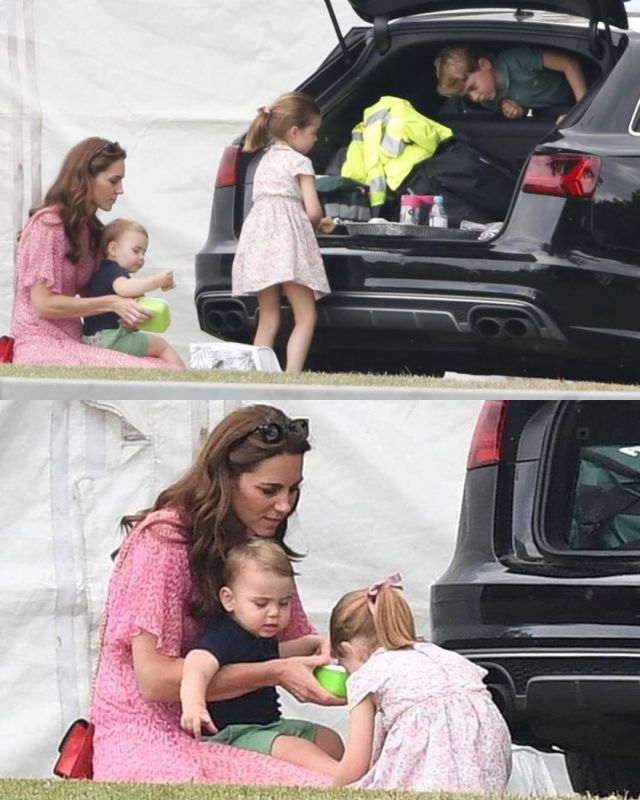 Kate was seen with her three children George, Charlotte and Louis at the polo match. (Photo: Instagram)