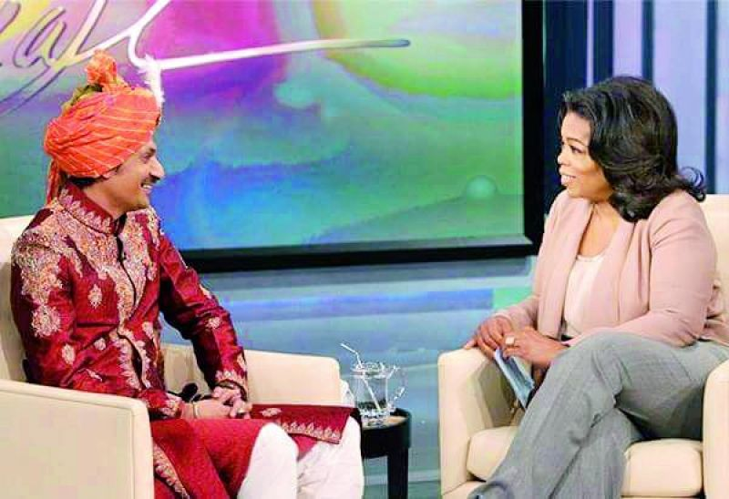 Manvendra Singh Gohil, scion of the Rajpipla royal family from Gujarat, who came out as the first openly gay prince, with Oprah Winfrey