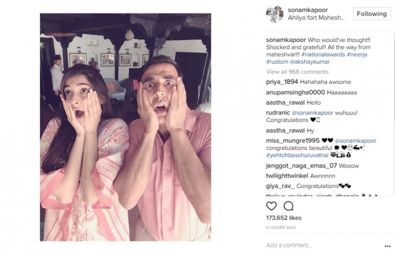 Akshay and Sonam after shocked about their National Awards on Padman sets