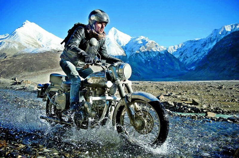 A scene from a group of Royal Enfield bikers on a tour from Manali to Spiti in Himachal Pradesh.
