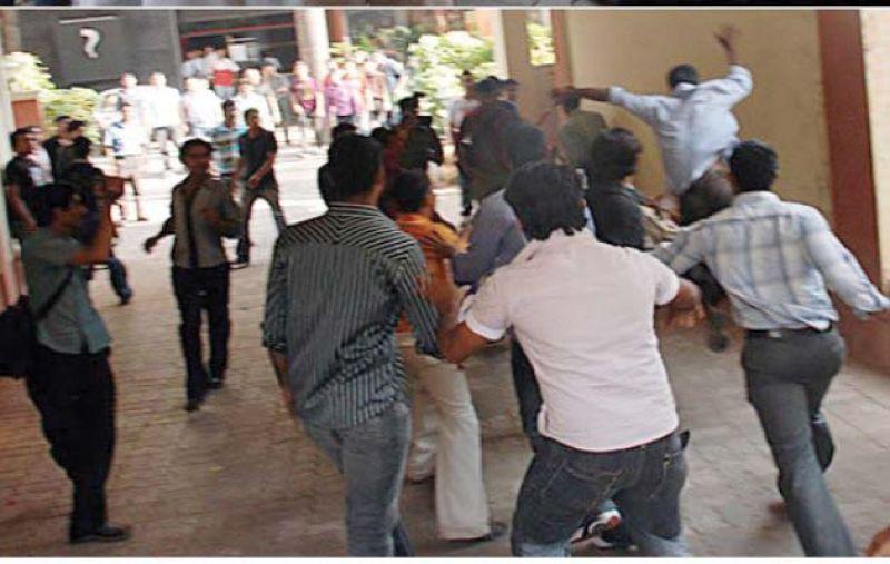 A video grab of Ram Sena members rushing into Amnesia Pub in 2009