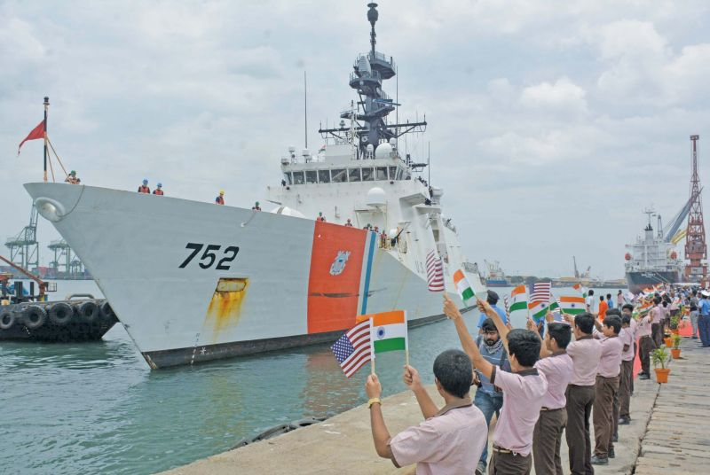 The Indian Coast Guard ship ICGS Shaurya took part in the joint exercise on Friday. (Photo: DC)