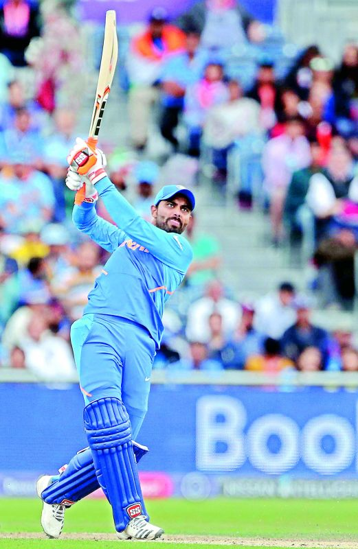 Ravindra Jadeja plays a shot during the semifinal against New Zealand on Wednesday. (Photo: AP)