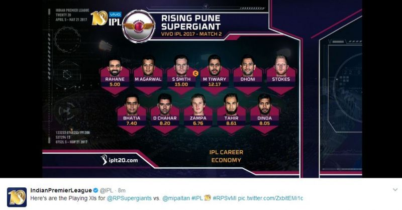 Rising Pune Supergiants team sheet