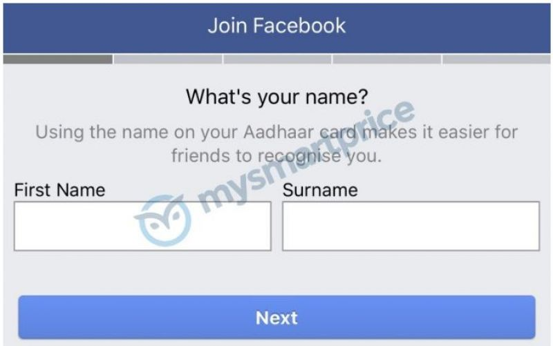 Facebook prompts option for new users: Sign-up with name as per Aadhaar